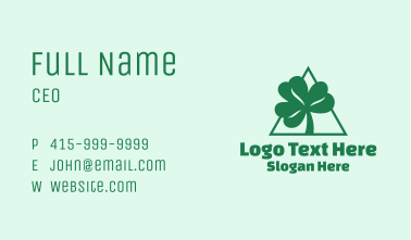 Green Triangle Shamrock  Business Card