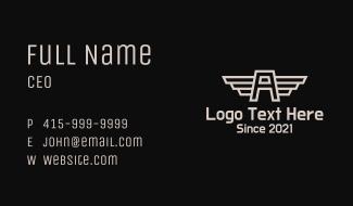 Aviation Letter A Monogram Business Card
