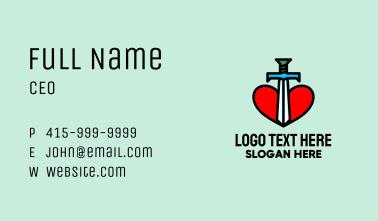 Sword Heart Emblem Business Card