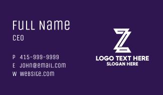 White 3d Letter Z Business Card