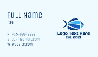 Geometric Blue Fish Business Card