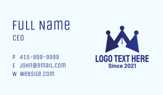 Blue Crown Pen Business Card