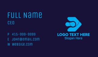 Blue Digital Arrow Letter D Business Card