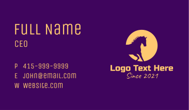 Yellow Mythical Unicorn  Business Card