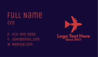 Airplane Travel Tour  Business Card