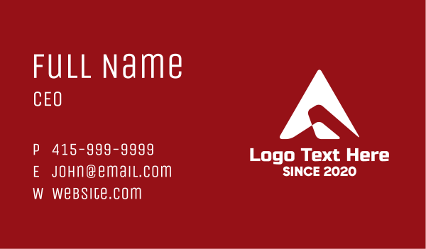 mapping - Navigation Arrow Letter A Business card horizontal design