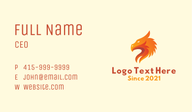 Orange Dragon Mascot  Business Card