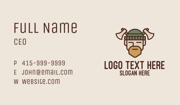 axe - Lumberjack Axe Man  Business card horizontal design