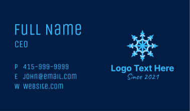 Blue Snowflake Chandelier Business Card