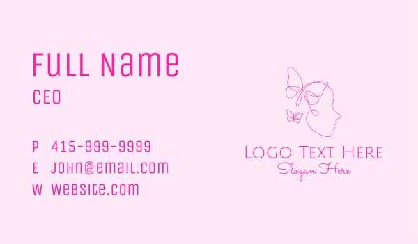 maiden - Pink Butterfly Face Monoline Business card horizontal design