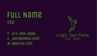 Green Parrot Outline Business Card