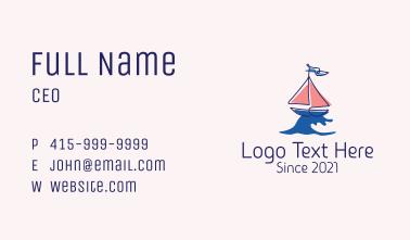 Nautical Sailboat Wave Business Card