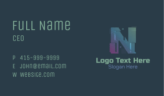 Modern Glitch Letter N Business Card