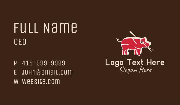 piglet - Pig Meat Shop  Business card horizontal design