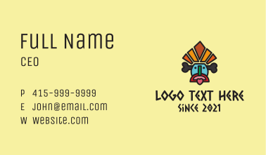 Multicolor Tribal Mask  Business Card