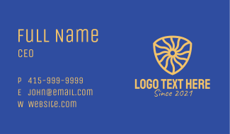 Yellow Medieval Shield  Business Card