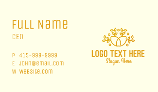 Yellow Lemon Line Art Business Card