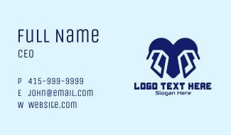 Blue Tech Heart Business Card