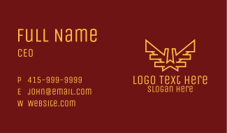 Gold Wings Letter W Business Card