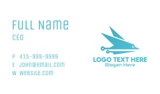 Sleek Blue Airplane Business Card
