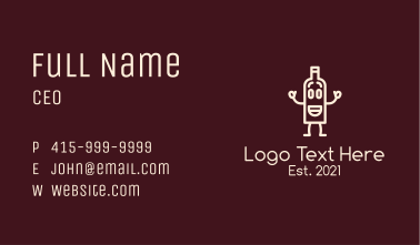 Wine Bottle Mascot Business Card