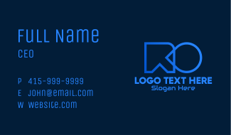 Blue Gaming Letter R & O Business Card