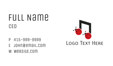 Music Lady Bug Beatle Business Card