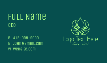 Green Natural Oil Business Card