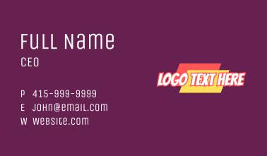 Inclined Cartoon Wordmark Business Card