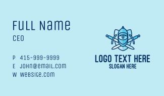 Blue Knight Sword Shield Business Card