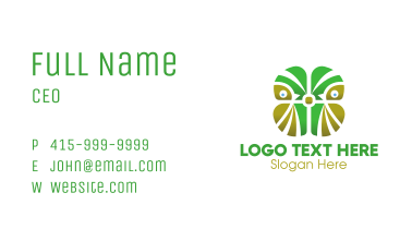 Abstract Green Owl Business Card