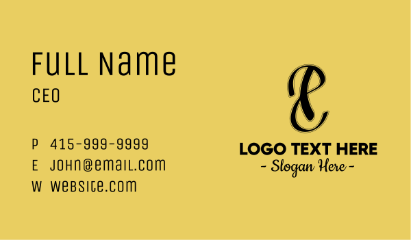 fashion accessories - Black P & S Monogram Business card horizontal design