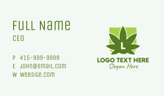 Green Weed Leaf Lettermark Business Card