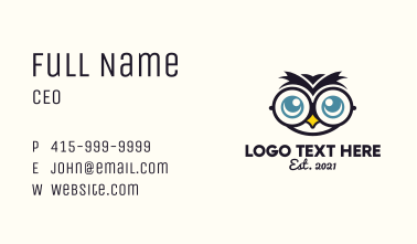 Optical Owl Mascot  Business Card