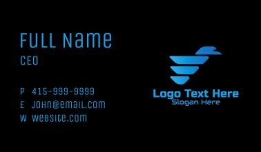 Blue Gradient Bird Tech Business Card