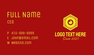 Yellow Hexagon Camera Business Card