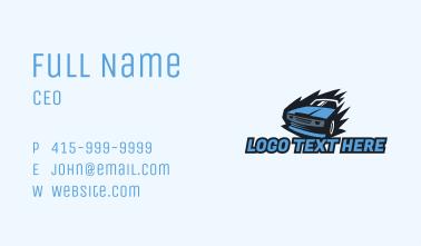 Blue Race Car Business Card