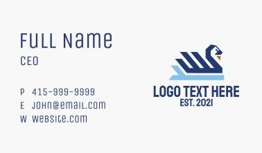 Geometric Blue Swan  Business Card