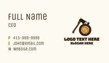 Axe Wood Log Business Card