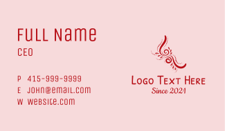 Red Pattern Ornament Business Card