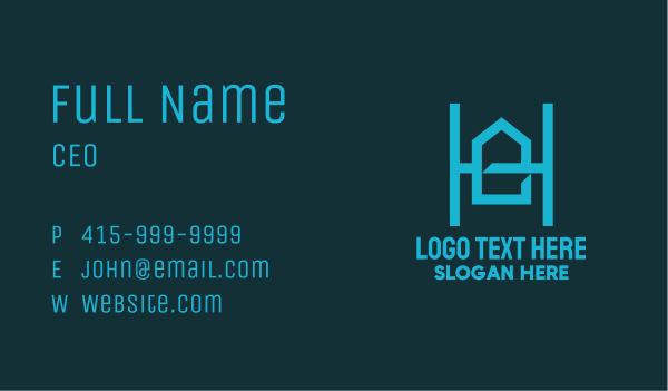 property developer - Blue Geometric House Letter H Business card horizontal design