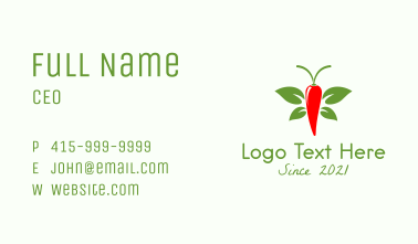Butterfly Chili Pepper  Business Card