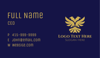 Gold Double Headed Eagle  Business Card