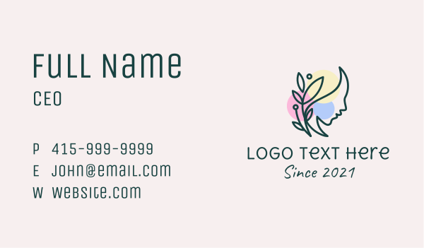 maiden - Colorful Nature Woman  Business card horizontal design