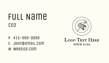 Needle Thread Sewing Badge Business Card