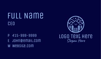 Night Forest Mountain Business Card