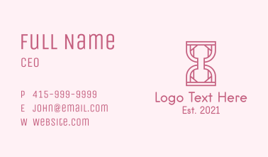 Pink Outline Hourglass  Business Card