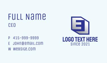 Modern 3D Letter E  Business Card