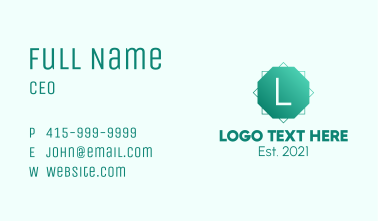 Green Gradient Octagon Letter Business Card