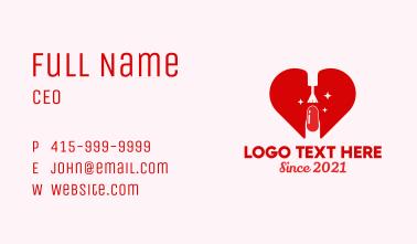 Heart Nail Polish Spa Business Card